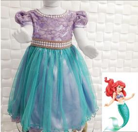 Vestido Festa Aniversario Ariel Pequena Sereia Lindo Luxo!