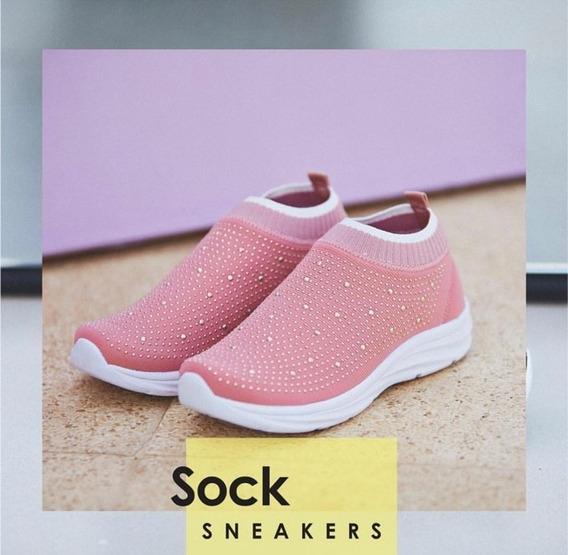 Tênis Meia Casual Sneaker Rose Confort