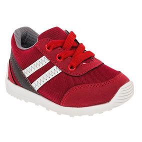 Tenis Sneaker Keiko Niños Textil Rojo Gris Blanco Dtt 63348