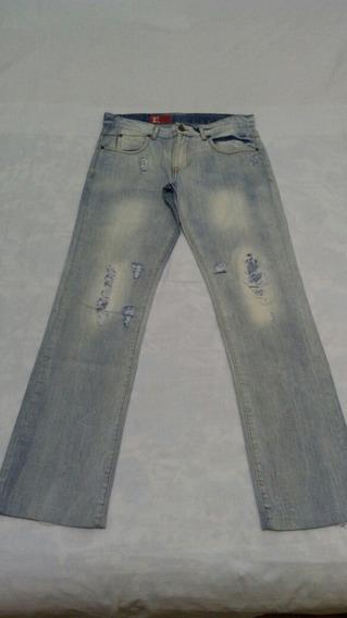 Calça Jeans Zara Man Tamanho 42 Azul Claro Estonado Sacola