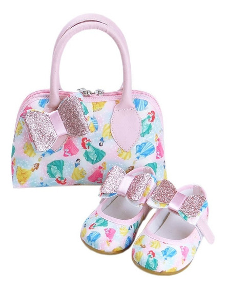 Kit Bolsa E Sapatilha Princesas Laço Customizado
