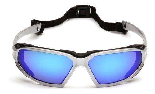 Lente De Seguridad Pyramex Highlander Espejado Azul Uv 99%