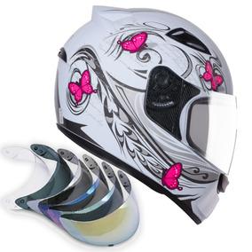 Capacete Feminino Tipo Ls2 Norisk Branco Rosa + Viseirafumê
