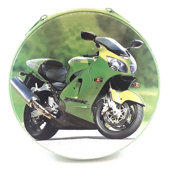 Porta Cd E Dvd Motos Kawasaki Verde Estojo Metal 24 Dvd