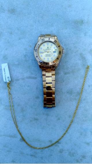 Relógio Top Dourado Inox + Corrente Fina Banhada Ouro