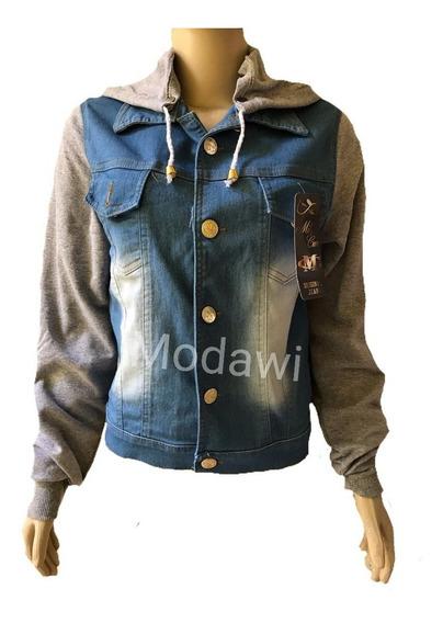 Jaqueta Jeans Com Capuz Removível De Moletom P M G Gg