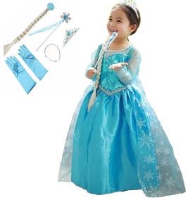 Vestido Fantasia Infantil Frozen Rainha Elsa + Acessórios