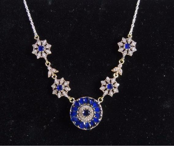 Colar Feminino Prata Maciça 27,4g Safira Azul Cristais J3030