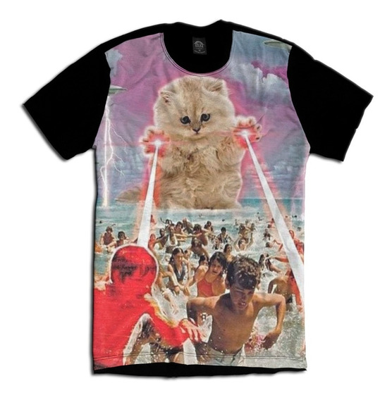 Camiseta Gato Alien Crazy 420 Psicodélico Tie Dye Wash Acid