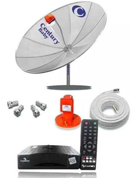 Kit Antena Parabolica Century Completa Com Receptor