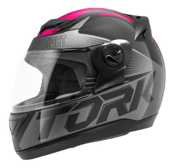 Capacete Moto Feminino G7 Preto Fosco - Rosa 58