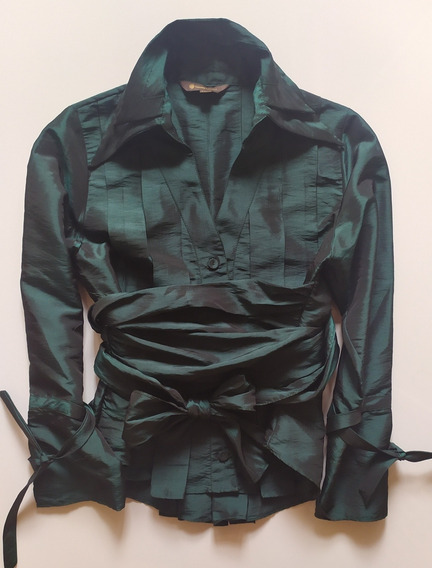 Camisa De Fiesta Claudia Larreta Verde Metalizado Talle S