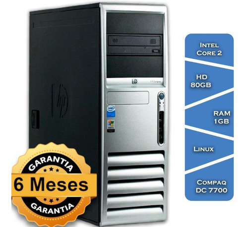 Imagem 1 de 3 de Pc Hp Compaq Dc 7700 Core 2 6300º Hd80 1gb Ram Linux Torre