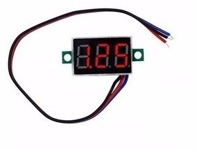 Mini Voltímetro Digital 3fios Led Verm. 0v-100v-0,36