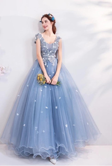 Vestido Xv Años Azul Vintage Alz-181116003