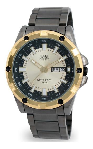 Reloj Q&q By Citizen Hombre Negro Dorado Caballero Original