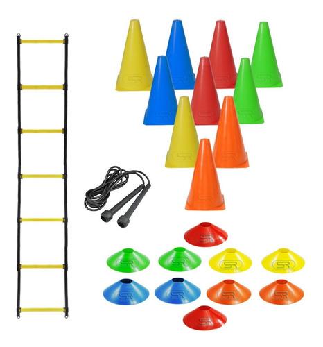 Imagem 1 de 1 de Escada + Corda +10 Pratos +10 Cones P/ Treinamento Funcional