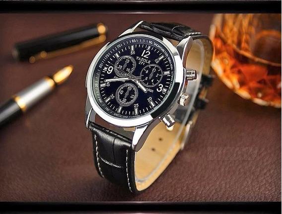 Relógio Pulso Masculino Luxo Yazole - Pulseira Couro