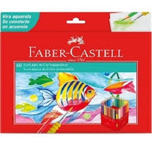 Lápis De Cor Faber Castell C/60 Cores Aquarelável + Pincel