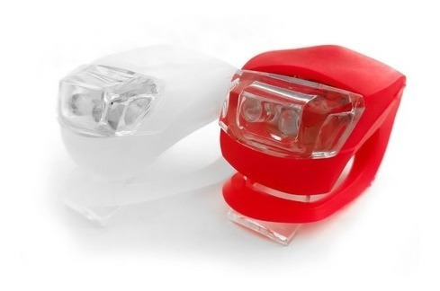 Imagen 1 de 2 de Kit Luces Bicicleta Silicona Led Blanca + Roja Pilas