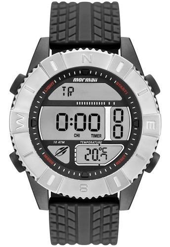 Relógio Masculino Preto E Prata Mormaii Pulseira Silicone Preta Original