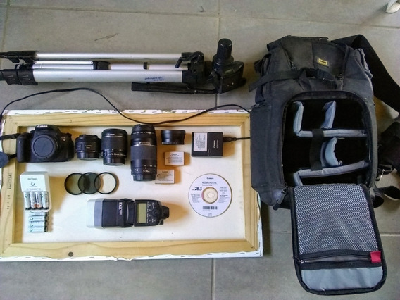 Canon T5i Rebel+lentes+tripé+mochila