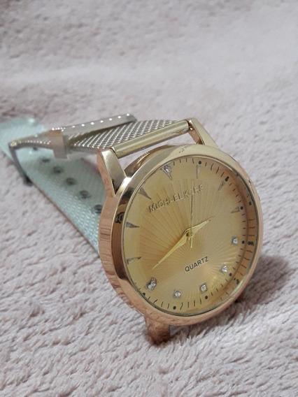 Relógio Dourado Delicado De Luxo Mk Outlet