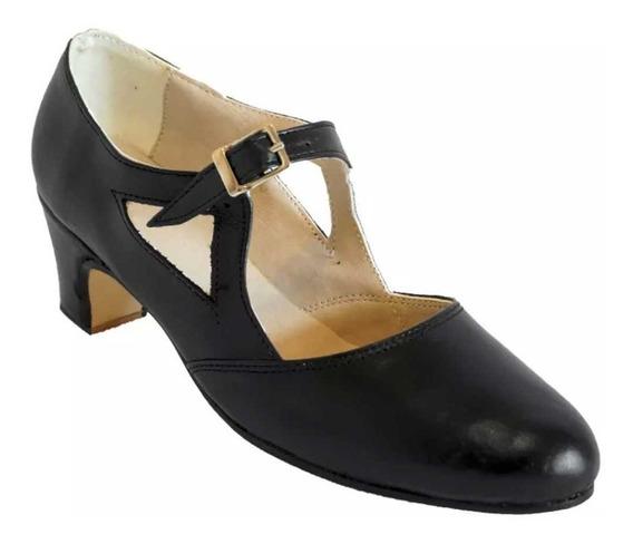 Zapatos De Folklore Cuero Negro