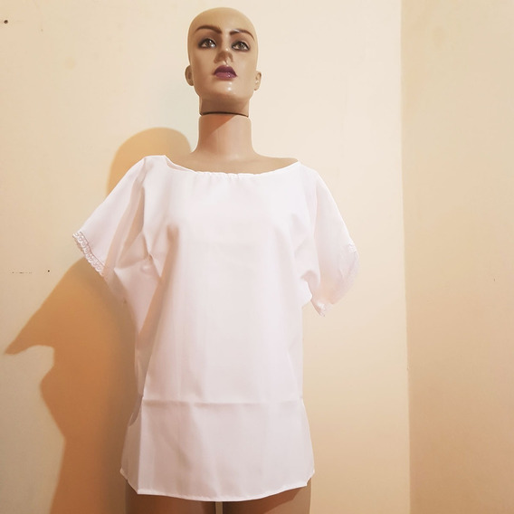 Camisu Bata Feminina Ração Branca Em Oxford Tamanho P Ao G