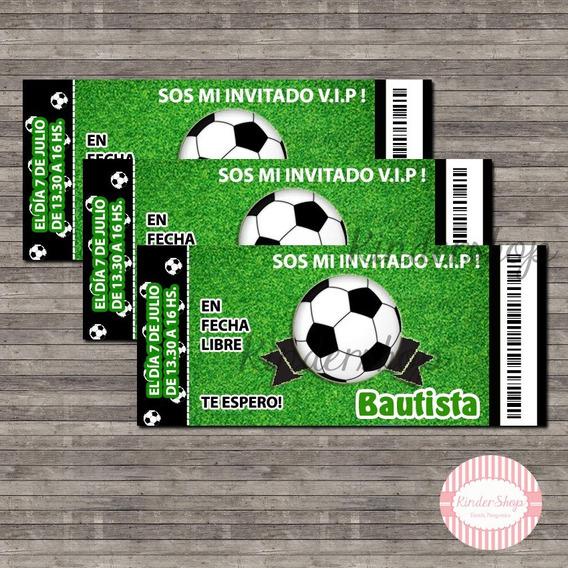 40 Tarjetas Invitacion Motivo Entrada Estadio Futbol