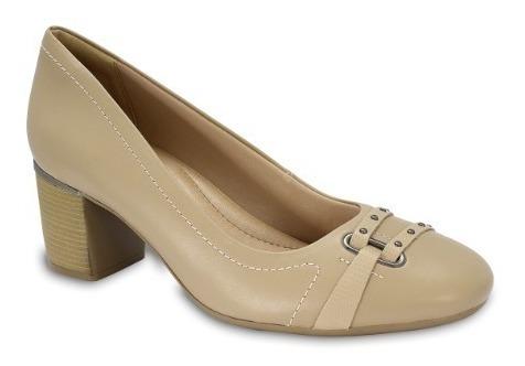Sapato Scarpin Comfortflex 1867302 Preto Avelã Salto Alto