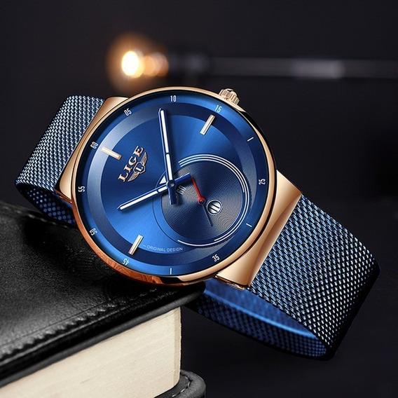 Relógio Feminino Marca De Luxo Lige Original Azul Rosê