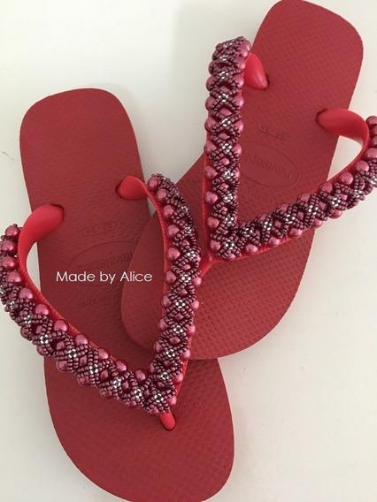Chinelos Havaianas Vermelho Decorado Bordado Customizado