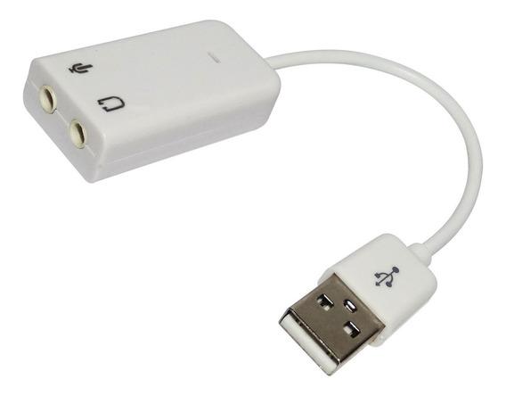 Adaptador Som Audio Usb 7.1 Externa Cabo 20cm Branca C/ Nfe