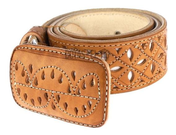Cinturon Piel Perforado Vaquero Charro Cuero 2 Pulgadas