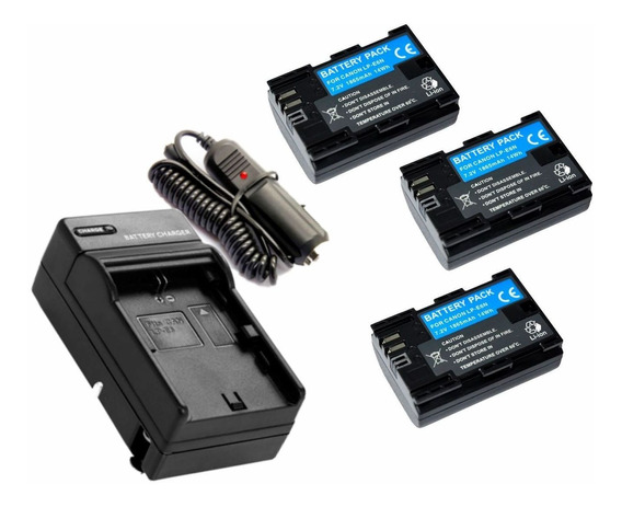 3 Baterias Lp-e6n + Carregador Para Canon Eos Digital 5d