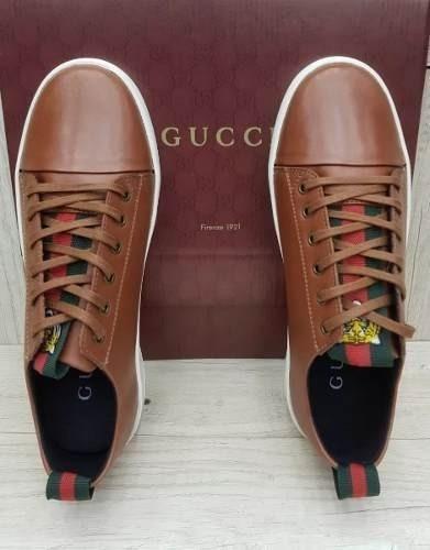 Tenis Gucci Caramelo Couro Masculino Marrom Promoção Oferta