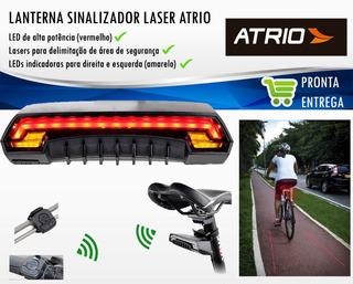 Lanterna Farol Traseira Bike Led Ciclovia Laser C/ Controle