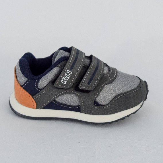 Tênis Klin 1850602007 Mini Walk Cinza/laranja Islen Calçados
