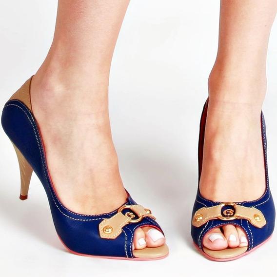 Sapato Peep Toe Original Carmen Steffens Couro Azul Bege