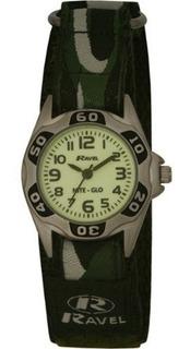 Reloj Ravel Niteglo Cuarzo Luminoso Esfera Verde Militar Vel