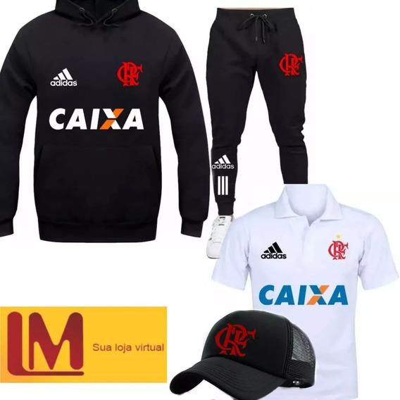 Kit Blusa Mengo Camiseta Polo Calça Moletom Bone Futebol