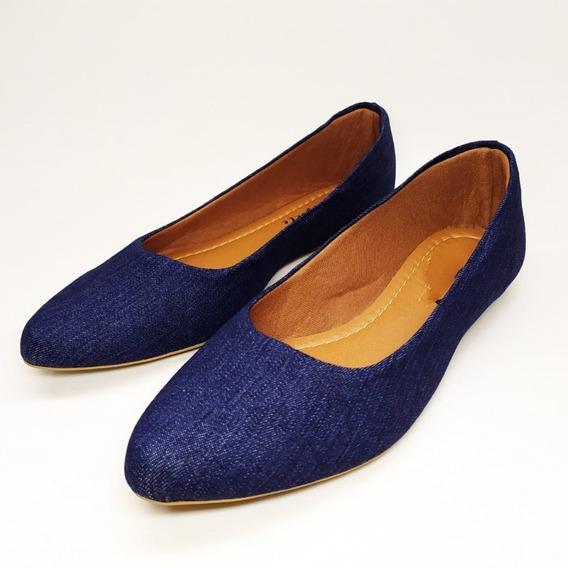 Sapatilha Rasteira Feminina Bico Fino Jeans Azul Confortável