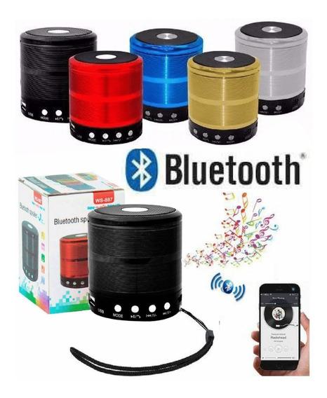 Caixa Som Ws-887 Pequena Bluetooth Usb Sd Radio Recarregavel