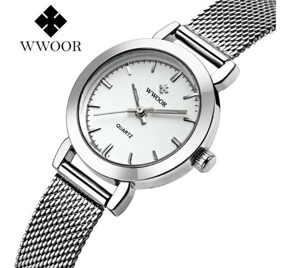 Relógio Feminino Social Luxo Wwoor 8823 Pulseira Aço Inox!