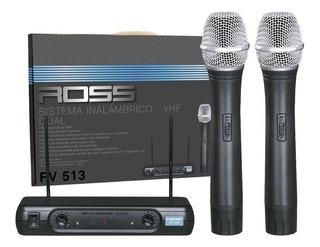 Microfono Ross Fv-513 Inalambrico Doble Vhf Karaoke!!!!!