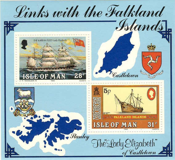 Isla Man 1984 Barcos Malvinas Falklands Completa Mint En Hb