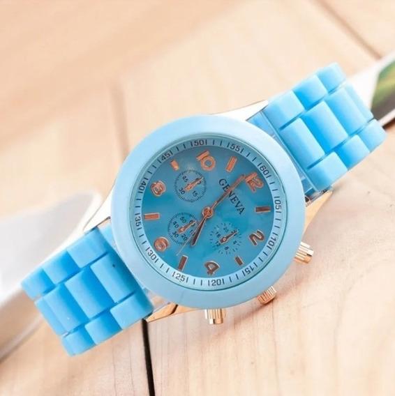 Relógio De Pulso Feminino Casual Pulseira De Silicone Geneva