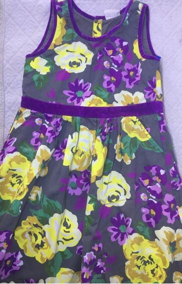 Vestido Nena T.9 Importado Estampado Con Terciopelo