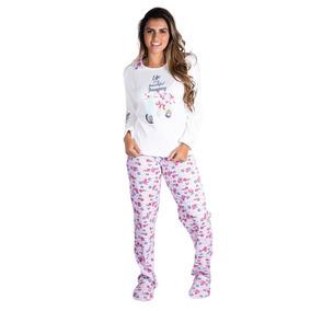Roupa De Frio Pijama Feminino Longo Blusa E Calça.